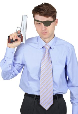 Modern pirate, pistol in hand, on a white background Stock Photo - 6375659