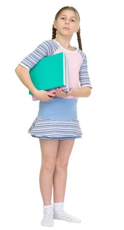 armful: The schoolgirl has a large armful of books