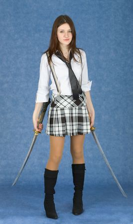 necktie: Beautiful girl in a skirt armed with two katana