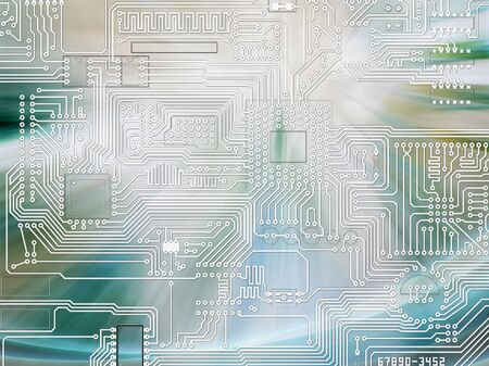 Rays of light shining and circuit board - blue abstract background photo