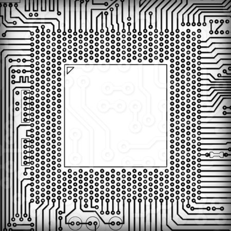 electric circuit: The circuit board square monochrome blank frame