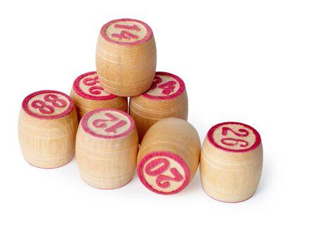 kegs: Wooden kegs for bingo isolated on white background Stock Photo