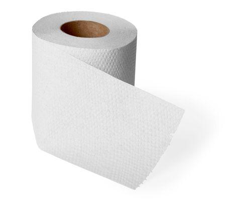 tejido: Rollo de papel higi�nico gris aislado sobre fondo blanco