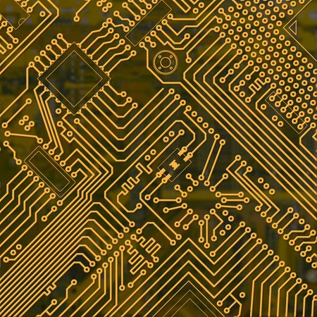 Abstract golden electronic industrial circuit board background photo