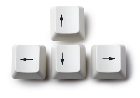The four keyboard arrow keys on a white background Stock Photo - 6482599