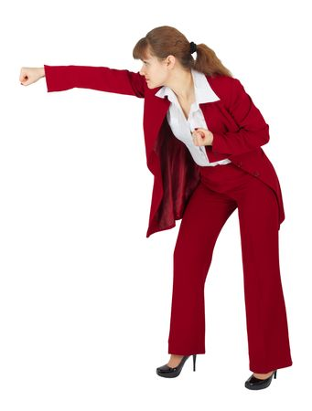 suit  cuff: A woman in a red business suit breaks hand