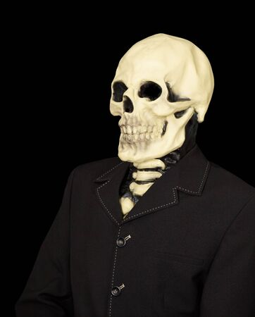 bared teeth: Dude in a jacket and a mask - death, isolated on black background