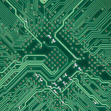 Verde placa de circuito electrónico cuadrados foto - textura
