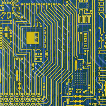 Circuit board electronic golden - blue square background Stock Photo - 6536559