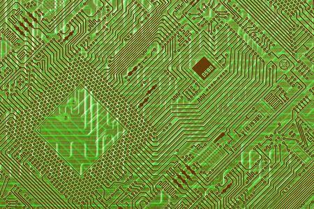 Placa de circuito electrónico fantástico diagonal fondo verde  Foto de archivo