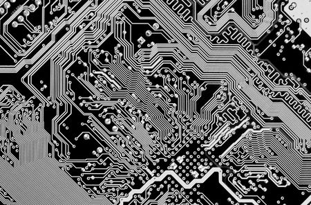 chipset: Circuit board electronic black and white background Stock Photo