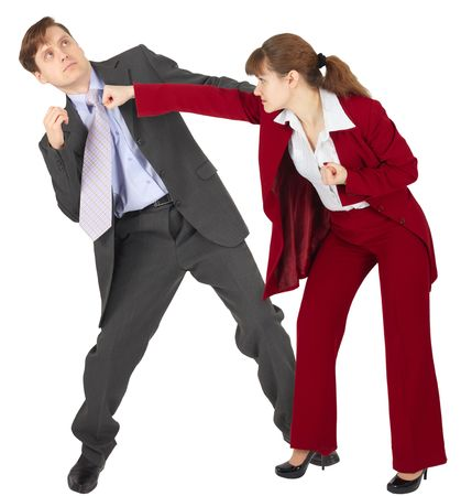 female domination: A woman punches a man - an unexpected denouement dispute Stock Photo