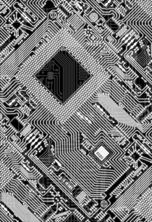Illustration - vertical circuit board electronic monochrome background illustration