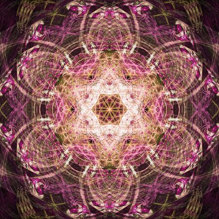 surrealistic: Abstract fractal surrealistic symmetric square pink background