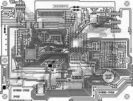 electronic board: Monochrome black and white abstract background - electronic circuit board