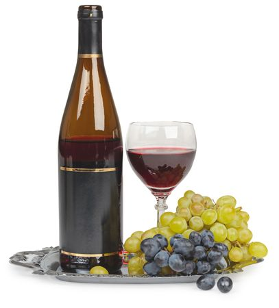 Still life of bottle of wine glass and grapes isolated on white background Stock Photo - 6619779
