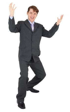 rejoices: Businessman rejoices isolated on a white background Stock Photo
