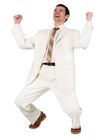 exultation: Satisfied with the successful young businessman, isolated on a white background