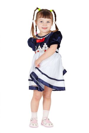 coquettish: Coquettish little girl on a white background