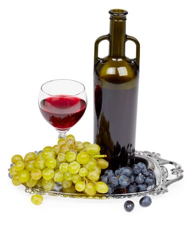 A bottle of red wine, glass and grapes on a white background - still life Stock Photo - 6709357