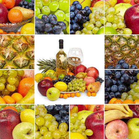 Wine, glass and tropical fruits - square collage photo