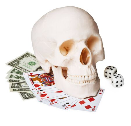 bared teeth: The skull on the money and cards, isolated on a white background
