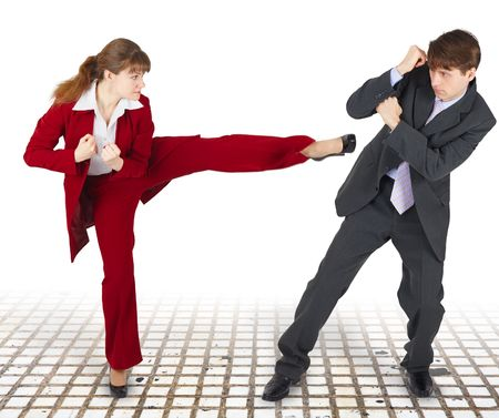 office force: Extreme office quarrel men and women with use of force Stock Photo