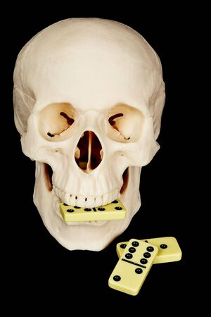 Skull eating dominoes isolated on a black background Stock Photo - 6828662
