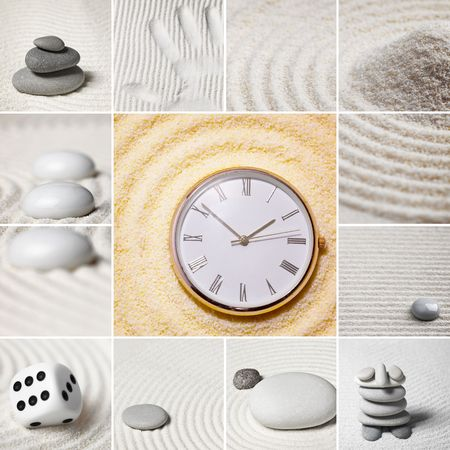 Collage - Japanese garden of stones. Square. Time. photo