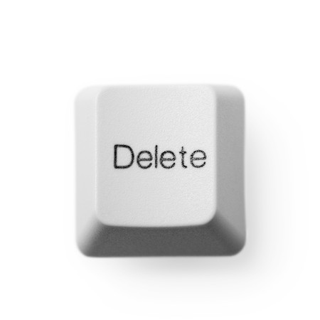 Computer button labeled - delete, on a white background