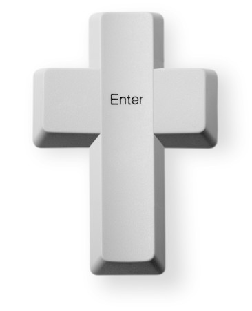 technology symbols metaphors: Computer button in the form of a Christian cross with the inscription - Enter