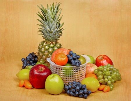 citrous: Still life - a great variety of fruits on the table