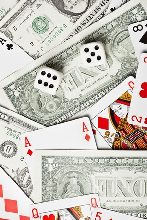 Background of the money, dice and playing cards
