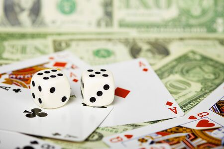 White dices are on the cards and money photo
