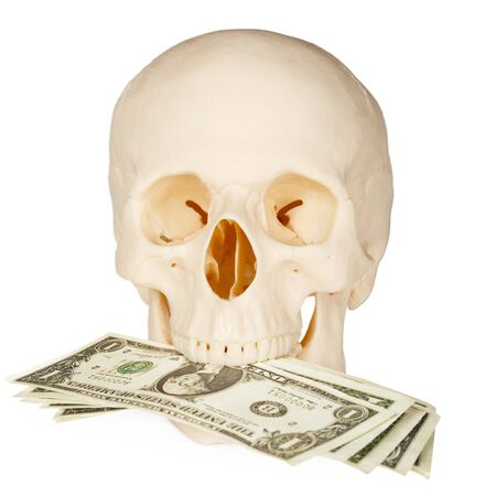 Skull devours money, isolated on a white background Stock Photo - 6949929