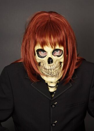 bared teeth: The masked man - skeleton and red wig