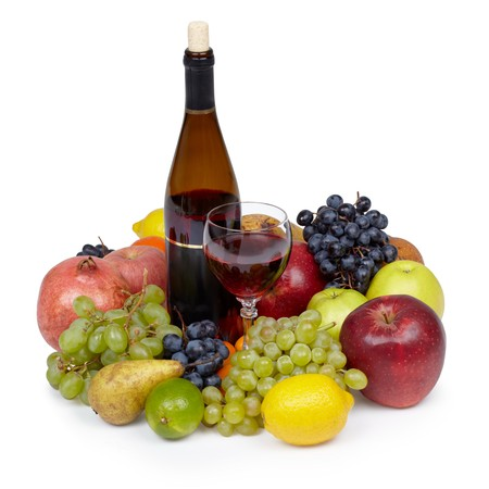 Still-life from vaus fruit and wine on white Stock Photo - 6999700