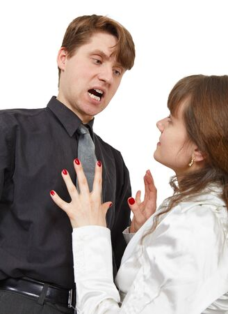 quell: The man terribly shouts at the young woman is isolated on a white background