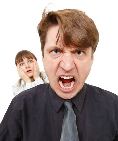 bawl: A man angry, he was furious. Woman in horror, isolated on white Stock Photo