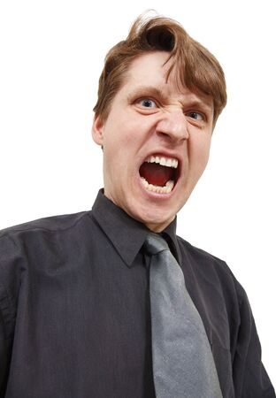 emotionality: Shouting in rage man on a white background Stock Photo