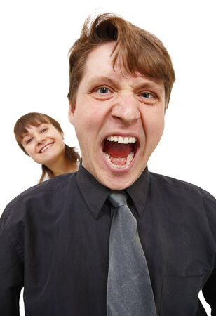 emotionality: A man in a rage and shouted loudly. Woman happy. Isolated on white.