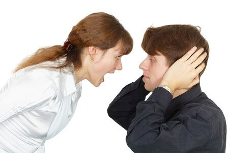 emotionality: Man does not want to listen to the cries of women isolated on white Stock Photo