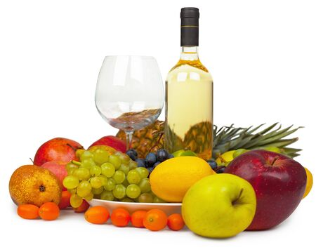 Still-life from wine and fruits on a white background - a panoramic photo Stock Photo - 7369437