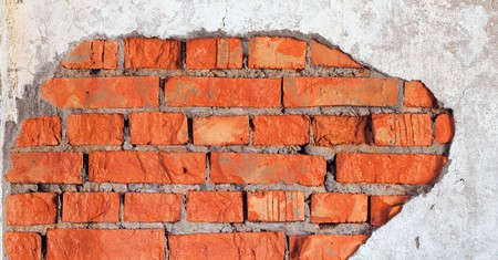urbanistic: The big damage of a brick wall - an industrial urbanistic background