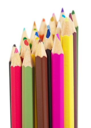 A set of colored wooden pencils isolated on a white background photo