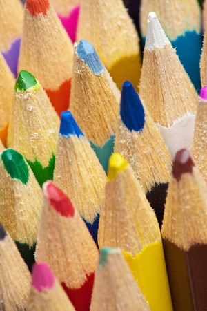 The tips of color pencils close up photo