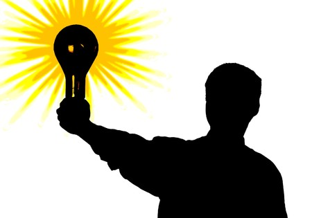 Silhouette of the man with a bulb - idea in a hand. An illustration