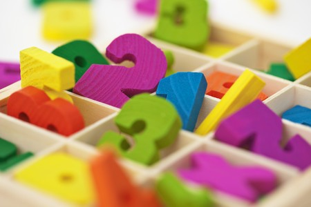 teaching material: School color wooden material for arithmetics teaching - close up Stock Photo