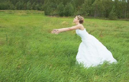 La mariée accélère au marié sur un pré vert