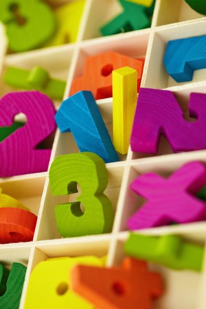 green computing: An old wooden box with toy characters and numerals Stock Photo